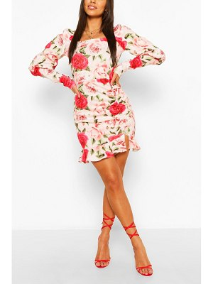 Boohoo Floral Ruffle Rouched Puff Sleeve Mini Dress