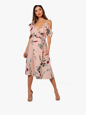 Boohoo Floral Ruffle Wrap Dress