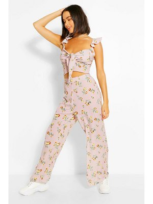 Boohoo Floral Tie Front Top & Culottes Two-Piece