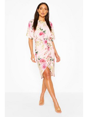 Boohoo Floral Wrap Tie Waist Midi Dress