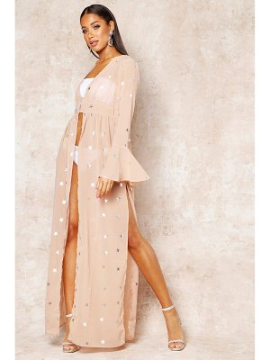 Boohoo Foil Star Print Bell Sleeve Maxi Cover Up
