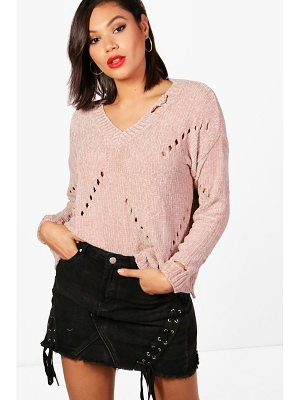 BOOHOO Fran Distressed Chenille Jumper