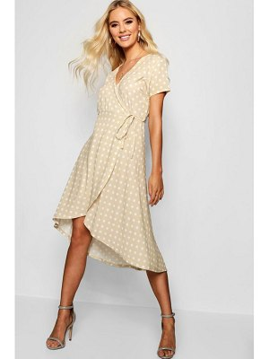 Boohoo Francesca Polka Dot Wrap Midi Dress