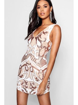 Boohoo Sequin Print Bodyon Dress