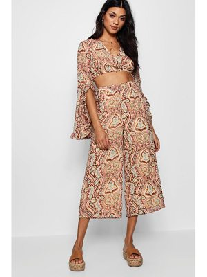 Boohoo Frey Wrap Front Frill Top and Cullotte Co-ord