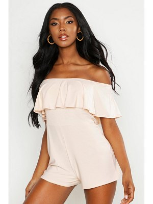 Boohoo Frill Bardot Shirred Playsuit