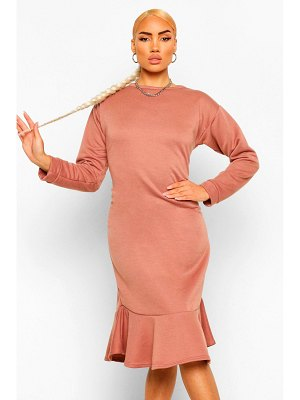 Boohoo Frill Hem Midi Sweater Dress