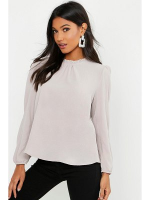 Boohoo Frill Neck Long Sleeve Woven Blouse