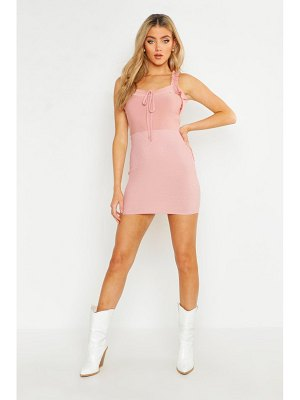 Boohoo Frill Tie Sheered Bottom Mini Dress
