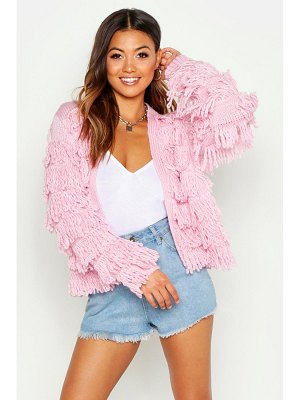 Boohoo Fringed Shaggy Knit Cardigan