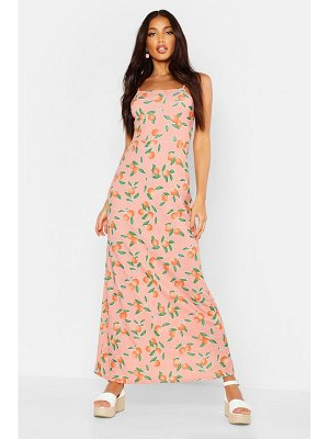 Boohoo Fruit Printed Square Neck Maxi Dress