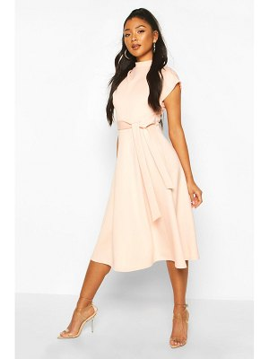 Boohoo Funnel Neck Belted Midi Skater Dress