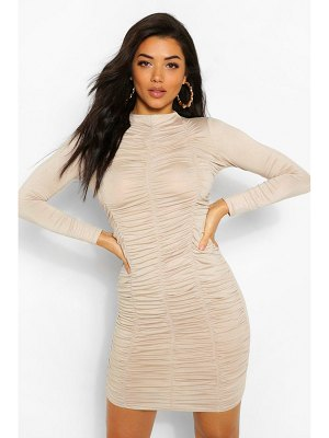 Boohoo Funnel Neck Ruched Mini Dress