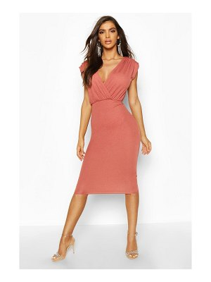 Boohoo Gathered Wrap Top Bodycon Midi Dress