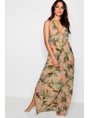 Boohoo Leaf Print Maxi Beach Dress