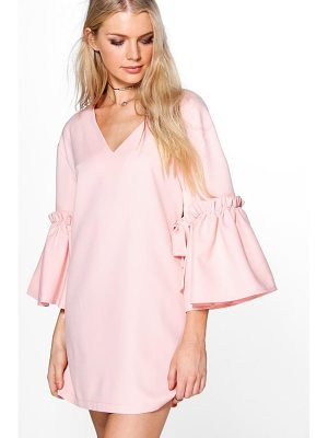 BOOHOO Georgia Tie Detail Woven Shift Dress