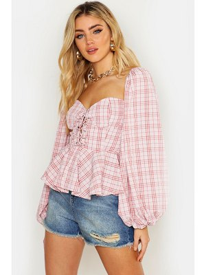 Boohoo Gingham Check Lace Up Peasant Peplum Top