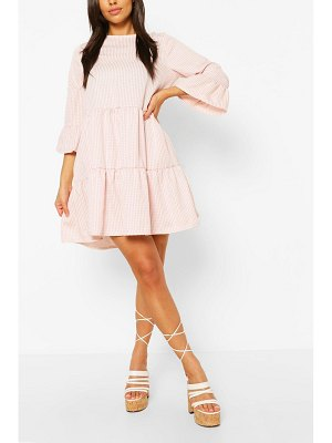 Boohoo Gingham Frill Sleeve Tiered Smock Dress