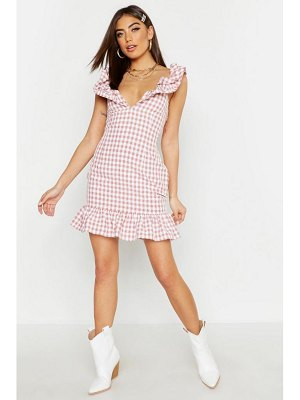 Boohoo Gingham Ruffle Detail Mini Dress