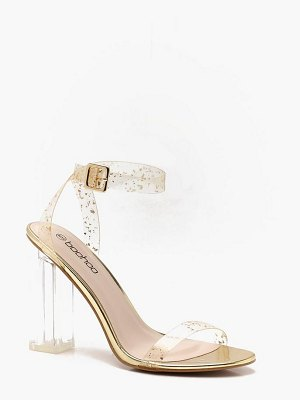 Boohoo Glitter Clear 2 Part Block Heels