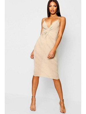 Boohoo Glitter Twist Front Midi Dress
