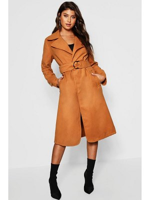 Boohoo Gold Buckle Belted Wool Look Coat