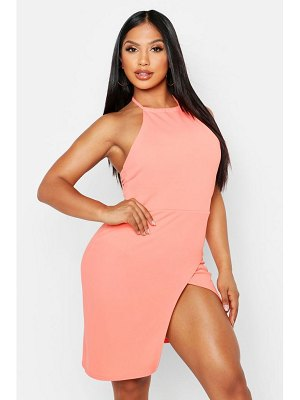Boohoo Halterneck Wrap Bodycon Dress