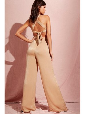Boohoo Hammered Satin Cut Out Wide Leg Jumpsuit