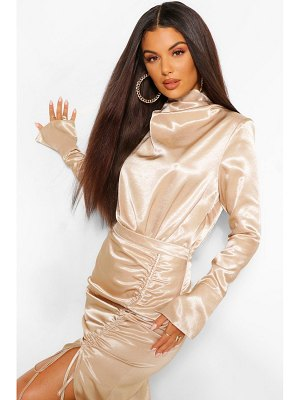 Boohoo Hammered Satin Ruched High Neck One Piece