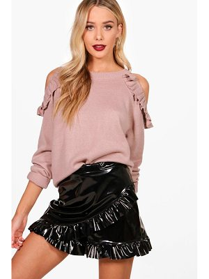 BOOHOO Hannah Ruffle Cold Shoulder Knitted Top