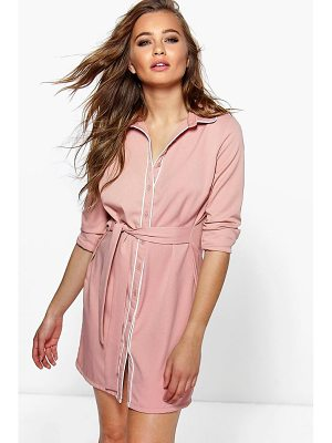 BOOHOO Hayley Contrast Tipped Shirt Dress