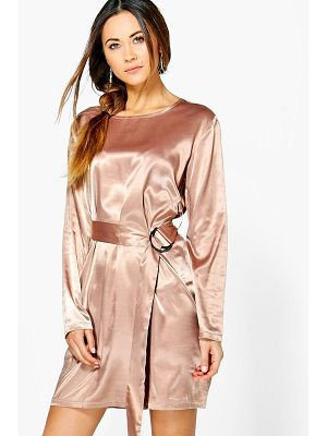 Boohoo Henrietta Satin D-Ring Belted Shift Dress