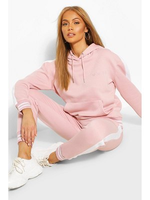Boohoo Her Side Panel Contrast Rib Hooded Tracksuit