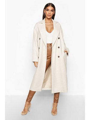 Boohoo Herringbone Wool Look Button Through Coat