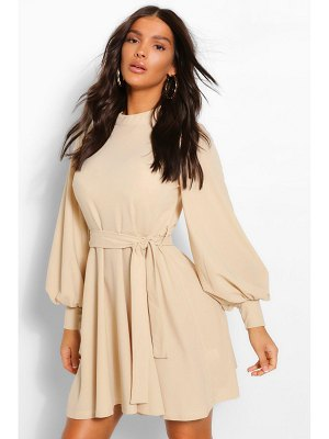 Boohoo High Neck Balloon Sleeve Belted Skater Dress