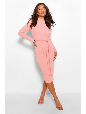 Boohoo High Neck Belted Midi Dress