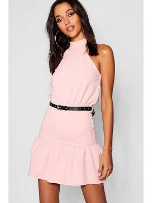 Boohoo High Neck Belted Ruffle Mini Dress