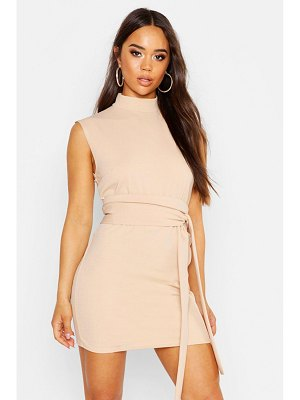 Boohoo High Neck Belted Shift Dress