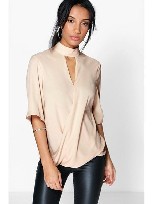 Boohoo High Neck Cut Out Choker Wrap Front Blouse