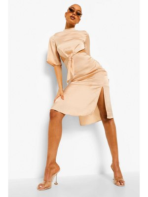Boohoo High Neck Cut Out Tie Front Midi Dress