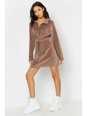 Boohoo High Neck Drawcord Velour Mini Dress