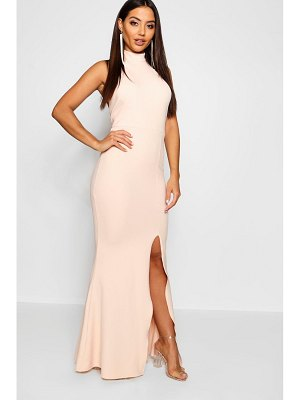 Boohoo High Neck Extreme Split Front Maxi Dress