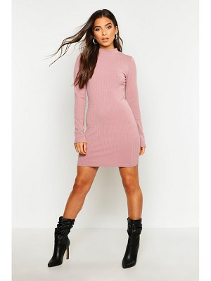 Boohoo High Neck Knitted Rib Mini Dress