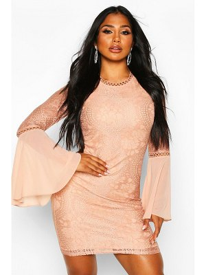 Boohoo High Neck Lace Flared Sleeve Mini Dress