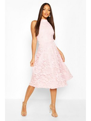 Boohoo High Neck Lace Midi Skater Dress