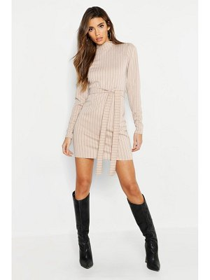 Boohoo High Neck Long Sleeve Pinstripe Belted Mini Dress