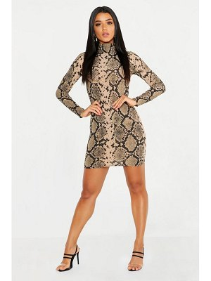 Boohoo High Neck Long Sleeve Snake Ribbed Mini Dress