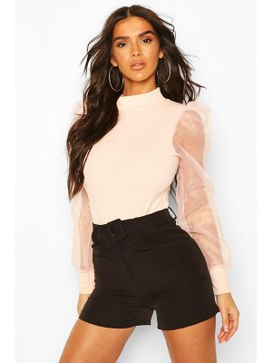Boohoo High Neck Organza Mesh Sleeve One Piece