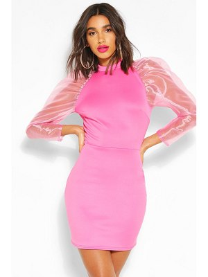 Boohoo High Neck Puff Sheer Sleeve Mini Dress
