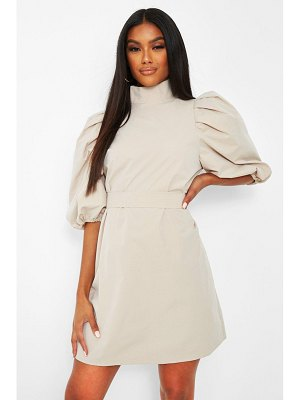 Boohoo High Neck Puff Sleeve Belted Shift Dress
